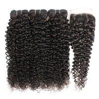Kisshair 9A Menselijk Haarbundels met 4 * 4 Kantsluiting Water Krullend Body Virgin Hair Extensions Diepe Losse Rechte Jerry Kinky Remy Weven