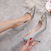 Hot Sale-Gradient pearl lady wedding pumps sexy pointed toe high-heeled 6CM 8CM banquet dress shoes for bridal 3 colors size 35-41