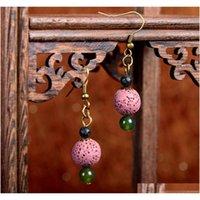 8 цветов богемные серьги ручной работы натуральный лаво-рок камень старинные этнические серьги ювелирные изделия свисающие серьги для sqcwpm dh_seller2010