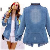 Vintage Denim Women Jackets Warm Slim Thick Parka Overcoat W...