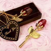 크리스탈 로즈 럭셔리 발렌타인 데이 선물 인공 꽃 웨딩 선물 골드 및 슬리버 9 * 3cm 파티 호의 XD24344