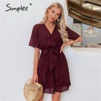 Simplee V Yaka Çiçek A-Line Yaz Elbise Kadınlar Ruffled Sash Kemer Wrap Elbise Kısa Kollu Plaj Astar Bayanlar Kısa Elbise LJ200808