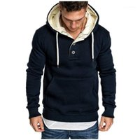 Massivfarbe Hoodies Mode Button Langarm Sweatshirt Designer Mens Warme Herrenbekleidung Neu Casual Mit Kapuze