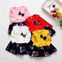 Vestido de rede mangas compridas curva rosa uma peça menina bebê crianças roupas princesa vestidos de baile primavera outono 18zl k2