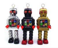 juguetes vendedores calientes del mecanismo Restauración de antiguas formas de la vendimia mecánica de viento de hasta metal Walking Robot de estaño para adultos colección de juguete de regalo de los niños