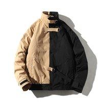 Erkekler Kış Ceket Casual WINDBREAKER Erkek Parka Hip Hop Patchwork Tasarım Coats Man Streetwear Dış Giyim Giyim