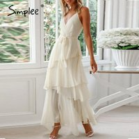 Повседневные платья простые женские женские платья без рукавов Ручка с твердой высокой талией V-образным вырезом летняя уличная одежда Ruffled Sash вечерние платья Maxi1