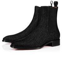 2020 Kış Sonbahar Erkek Çizme Marka Tasarımcılar Kırmızı Alt Ayak bileği Boot Samson Orlato Erkekler Gelinlik Deri Flats Ayakkabı Mid Bot Süper