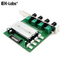 PC Refrigerador Radiador 4 5 Vias 3Pin 4Pin Ventilador de Velocidade Controlador de Temperatura W / PCI, Caixa de 12V 1A Fã 3A DDC D5 Bomba de Água Controle1
