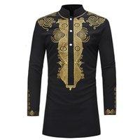Novo 2020 Dashiki Moda Africana Tradicional Impresso Rico Bazin Men Manga Longa África Roupas Thoke Vestido Para Homem Camiseta