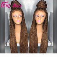Banque Noir Bourgogne Brown Sénégalais Twist Wig Synthetic Crochet Braids Perruque en dentelle Full Dentelle Frontal Micro Braid Wig avec cheveux bébé