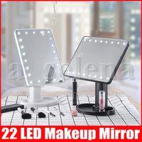 360 stopni Rotacja Ekran dotykowy Makijaż LED Lusterka Kosmetyczna Składana przenośna kompaktowa kieszeń z 22 LED LIGHTUP Makeup Lustro