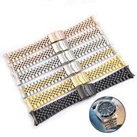 SKX007 009 20mm Edelstahl Armband Curved Endgurt Falten Schließe Handgelenk-Gurt-Armband Silber für Sieko Uhren Zubehör