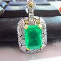 100% 925 prata esterlina com pingente de pedra preciosa esmeralda criada sem colar cadeia palácio vintage belas jóias para mulheres 1027