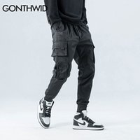 Gonthwid lateral cremallera bolsillos carga harem joggers pantalones hombres hip hop casual harajuku streetwear streetwee pantalones pantalones masculinos 201110