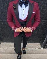 Groomsmen Dark Red with BlackGroom Bestmen Peak Lapel Men Suits 3 Pieces Wedding Best Man ( Jacket+Pants+Vest+Tie ) C801