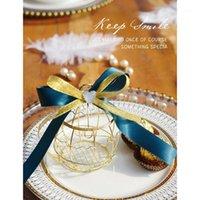 20 أجزاء ذهبية معدنية الرجعية الطيور قفص جرس الحلوى مربع حفل زفاف هدية حقيبة استحمام الطفل الأحداث اللوازم 1