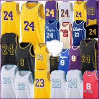 로스 23 6 앤젤레스 농구 유니폼 Carmelo 8 24 00 Anthony 3 Davis Kyle 0 Kuzma Jerseys 34 34 Mens S-XXL 블랙 골드