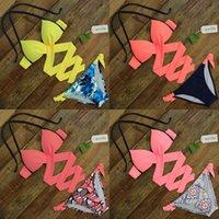 Spor подобный Push Up Bikini 2020 Cross полоса для женщин Купальники купальники купальник Halter Top Print Maillot de Bain Bequini Купальники XXL Q1222