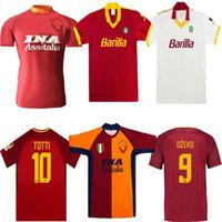 Retro Roma Soccer Jersey 00 01 02 89 90 Totti Batistuta Candela Montella Classic Comemorate Collection Roma Maglia da Calcio