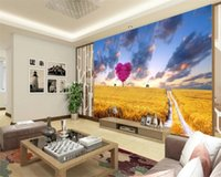 Personalizado Mural 3d Wallpaper Dreamy Campo de trigo Cenário bonito Home Decor Sala Quarto Wallcovering Wallpaper HD