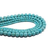 1Strand Lotto creato perline 4 6 8 10 12 mm liscio naturale turchese verde turchese rotondo perlina distanziata per gioielli per fare fai da te h Bbylus