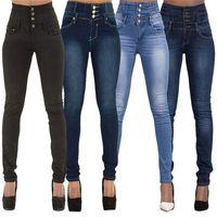 Damen Bleistift Hosen Stretch Hohe Taille Slim Weibliche Hose Casual Taschen Solide Farbe Skinny Long Damen Jeans 201223