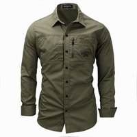 Uomo Button Down Camicie da esterno Regular Fit Manica lunga Flannel Casual Men's Cotton Shirt Giacca Cappotto Mens Army Green Tops Taglia 3XL FM117