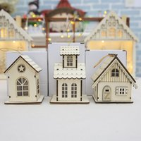2018 Led Luminous Cabin Pendant Christmas Wooden Ornaments C...