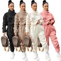 Женщины Solid Плюшевые Толстые Толстовки Два Piece Set флис с капюшоном с длинным рукавом фуфайки Top карандаш штаны Casual костюмы
