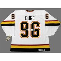 Real 888 Реальная полная вышивка # 96 Bure Pavel Vancouver Canucks 1996 CCM Vintage Hockey Jersey или пользовательское имя или номер хоккея