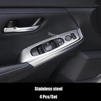 Autres accessoires d'intérieur Acier inoxydable Pour Sentra 2021 LHD Fenêtre de porte LHD Fenêtre Verre Subscripteur de commande Panneau de commande Couvercle de la voiture Styling 4PCS1
