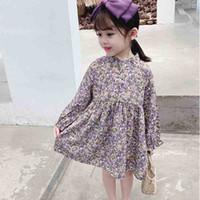 Frühling Fall Mädchen Kinder Kleidung Elegante Kleid Langarm Lila Blumen Design Eleganter Kleid