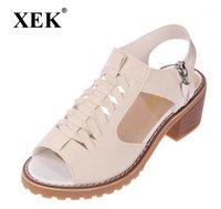 Xek vintage élégant mi-carré sandales femmes sandales d'été style d'été peep toe cross lié latérale zippille design chaussures femme wfq131