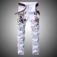 Мужские джинсы 2021 мода уличная одежда граффити мужчины эластичные джинсовые брюки брюки брюки хип-хоп повседневные печатные брюки белый Slim Fit BP016