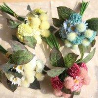 Flores decorativas grinaldas de alta qualidade nupcial segurando simulação seda falsificado pompon crisântemo buquê de flor artificial para casamento1