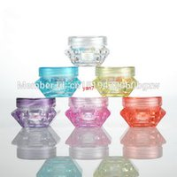3G 5G Diamante colorato forma diamante vuoto Contenitori cosmetici Vuoti Cappuccio del tappo del tappo del campione Cura della pelle Crema della cura della pelle dei vaso della cinghiera della tettona