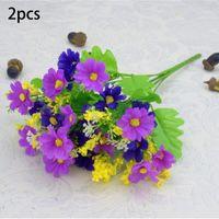 2pc 28HeySs Fleur d'extérieur Fausse Faux Plantes Herbe Jardin artificiel Décor Daisy pour la décoration de mariage à la maison Indoor1