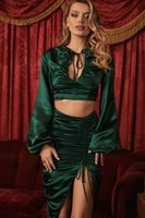 Sexy V Neck Lace up Lantern Sleeves Women Top Two Pieces Sets Green Pleats Draw String Split Skirt Fashion Lady Skirt Suits