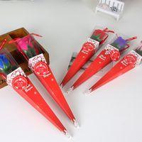 Künstliche Einzelne Blumen Verjüngte Verpackungsbox Konservierte Rosen Seife Home Decor Simulation Blüten Valentinstag Paar 1 9xya G2