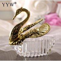 Wrap na prezent 12/24 / 50 sztuk Sliver Gold Swan Box Candy Wedding Drage Cukierki Pakiet Plastikowy Przyjęcie Urodzinowe Favors Supplies1