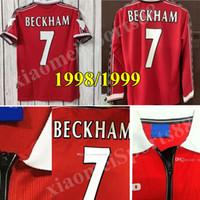 Top Qualité Velvet 1998 1999 Man Unite Retro Classic Soccer Jerseys 98 99 Beckham # 7 Giggs Football Shirt Solskjaer 1998 1999 Jersey 1999