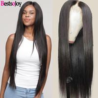 Bestsojoy Lace Part Perücken brasilianischen Haar-Perücken Glattes Haar Günstige Mensch mit freiem Verschiffen Schweizer Spitze-Perücke Mittelteil