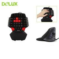 لوحة المفاتيح Mouse Compos Delux M618 مريح سلكي كومبو عمودي 1600 نقطة في البوصة مع اليد واحدة T9 لوحة المفاتيح الألعاب مصغرة للعبة ألعاب كمبيوتر محمول PC