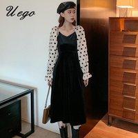 Puff Sleeve Weiche Samt Chiffon Patchwork Druck Dot Japanisches Süßes Mädchen Kleid Büro Dame Arbeitskleid Frauen Herbst Frühling