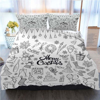 Cama Cotton Set Super King Duvet Cover Natal 3pcs Set Hand Drawn Natal Doodles poliéster edredon cobre os conjuntos de cama de luxo