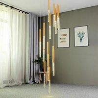 Современное освещение люстры для лестницы Большие длинные хрустальные лампы в коридоре Лобби золотая цепь люстры домашнего декора