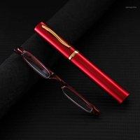 Güneş Gözlüğü Mini Ultra Hafif Cam Lens Ince Okuma Gözlükleri Kadın Erkek Alaşım Çerçeve Kıvrılmış Presbiyopik Gözlük Diyoptri + 1 - +4.01