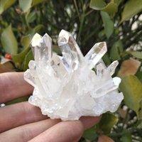 Caldo!!! 120-130g Natural Bianco Angel Aura Cristallo Cluster di cristallo elettroplatante in titanio rivestimento al quarzo cluster pietra guarigione T200117
