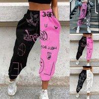 Kadınlar Casual Baskı Buket Ayak Sweatpants Kadınlar Yüksek Bel Pantolon Kadın Spor Salonu Ter Pantolon Moda Streetwear Kore Pantolon Q0112
